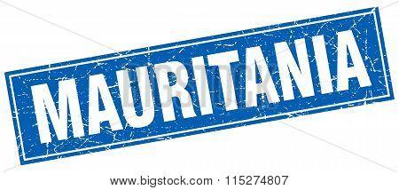 Mauritania blue square grunge vintage isolated stamp