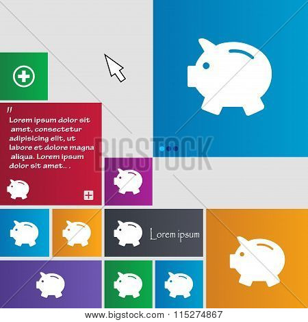 Piggy Bank - Saving Money Icon Sign. Buttons. Modern Interface Website Buttons With Cursor