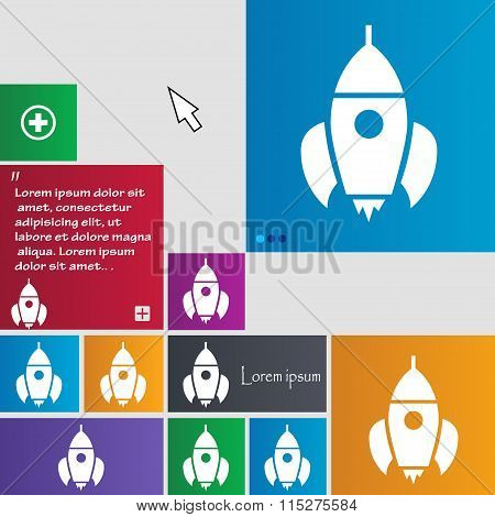 Rocket Icon Sign. Buttons. Modern Interface Website Buttons With Cursor Pointer.