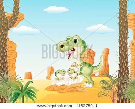 Cartoon mom tyrannosaurus dinosaur and baby dinosaurs hatching