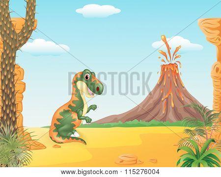 Cartoon funny tyrannosaurus with the volcano background