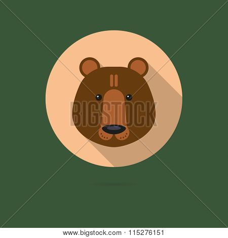 Flat design icon of cute brown bear face
