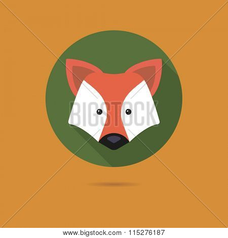 Flat design icon of cute red fox face