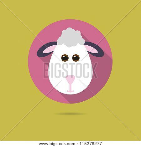 Flat design icon of cute sheep face
