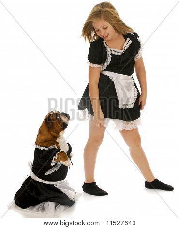 Girl And Dog Maids