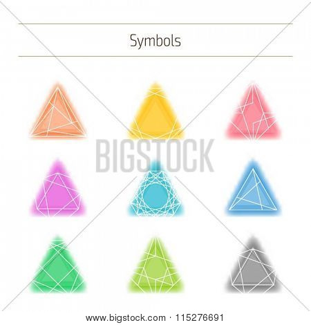 Set of minimal geometric colorful symbols. Trendy hipster icons and logotypes. Geometric, polygon, low poly shapes, polyhedron collection. Business signs, labels, badges, frames and borders