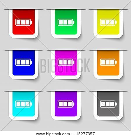 Battery Fully Charged Icon Sign. Set Of Multicolored Modern Labels For Your Design.