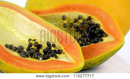 Papaya On White Background.