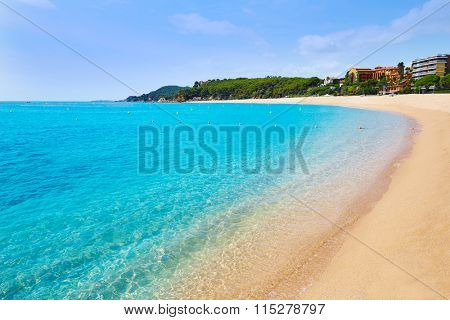 Platja Fenals Fanals Beach in Lloret de Mar at Costa Brava of Catalonia Girona Spain