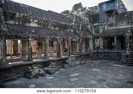 Inside Angkor Wat Buddhist Temple