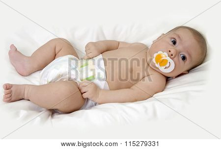 Kid infant in a diaper