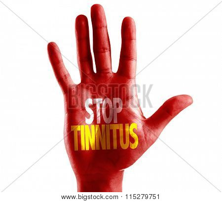 Stop Tinnitus written on hand isolated on white background