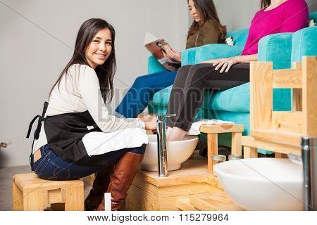 Cute Woman Working At A Nail Spa