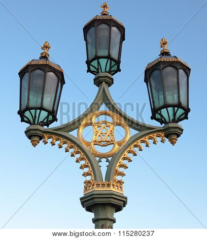 Lamppost on Westminster Bridge in Central London