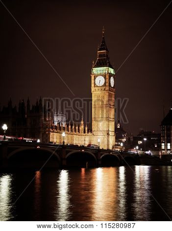 Big Ben and Westminster Bridge in Central London at night