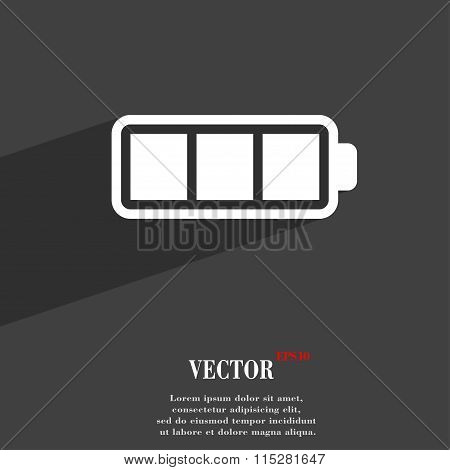 Battery Fully Charged Symbol Flat Modern Web Design With Long Shadow And Space For Your