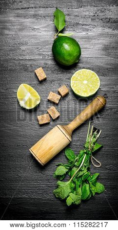 Lime Style. Fresh Mint, Limes, Black Sugar And Pestle.