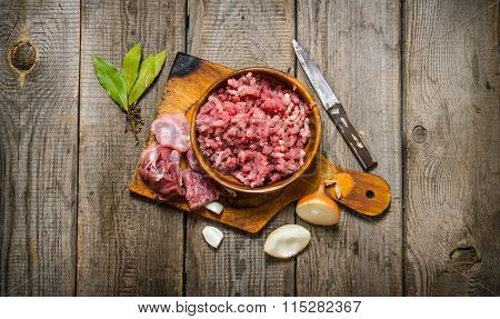 Fresh Minced Meat With Spices And Oil.