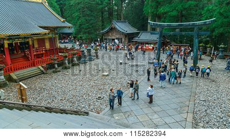 NIKKO, JAPAN - NOVEMBER 17, 2015: The final resting place of Tokugawa Ieyasu, the first Shogun of the Tokugawa clan, initially built in 1617. It's the most famous Toshogu shrine in Japan : NIKKO JAPAN - NOVEMBER 17 2015: The final resting place of Tokugaw