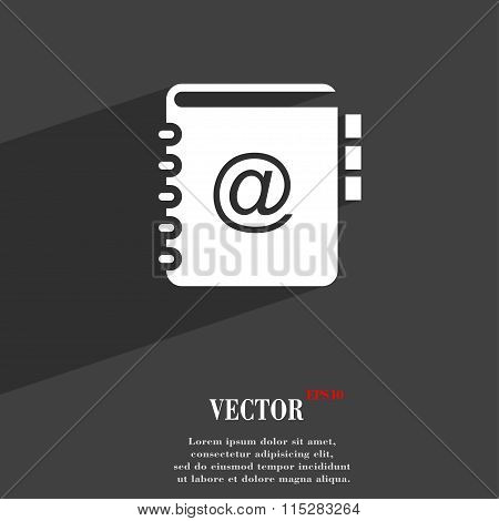 Notebook, Address, Phone Book Symbol Flat Modern Web Design With Long Shadow And Space For Your