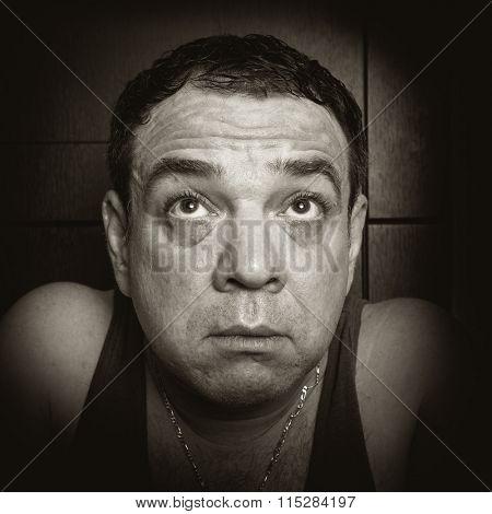 Sad man. Black and white photo.Series