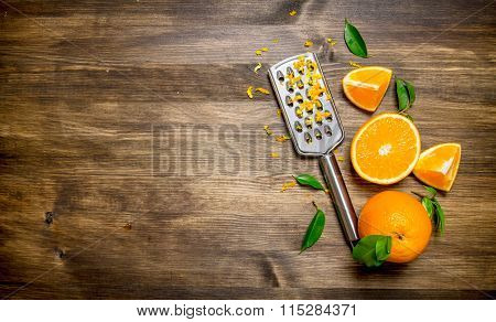 Fresh Oranges With Grater And Zest .  Free Space For Text .