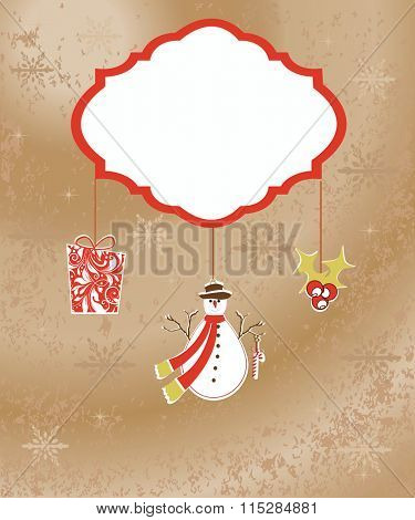 Vintage Christmas card with ornate elegant retro abstract floral design, stars snowflakes snowman poinsettia and gift with white flowers and leaves on light orange background. Vector illustration.