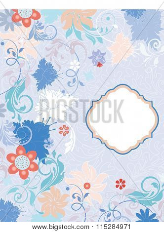 Vintage invitation card with ornate elegant retro abstract floral design, multicolored flowers and leaves on sky blue background with plaque label. Vector illustration.