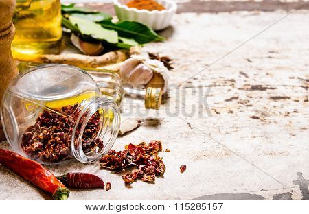 Spices And Herbs - Pepper, Bay Leaf, Garlic, Coriander Powder, And Others.