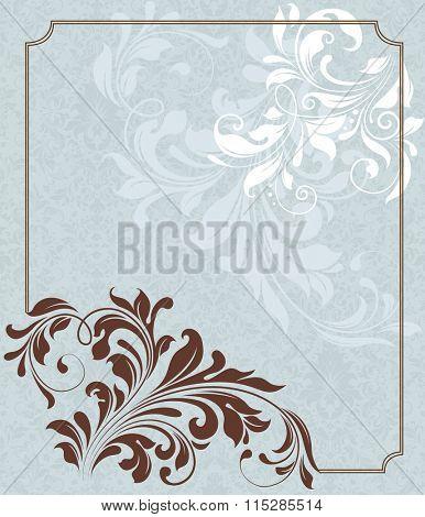 Vintage invitation card with ornate elegant retro abstract floral design. Vector illustration.