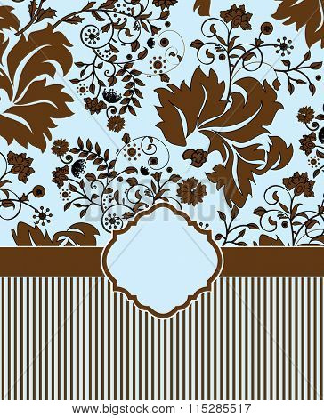 Vintage invitation card with ornate elegant retro abstract floral design, chocolate brown flowers and leaves on sky blue background with ribbon and stripes. Vector illustration.