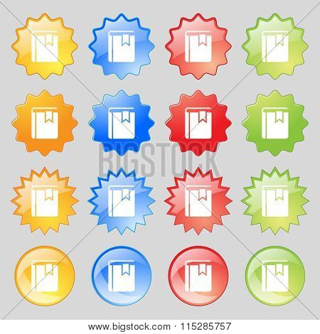 Book Bookmark Icon Sign. Big Set Of 16 Colorful Modern Buttons For Your Design.