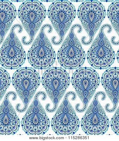 Intricate Blue Paisley Pattern