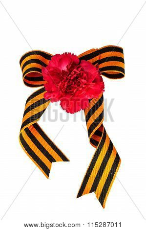 Carnation And Bow Of St. George Ribbon