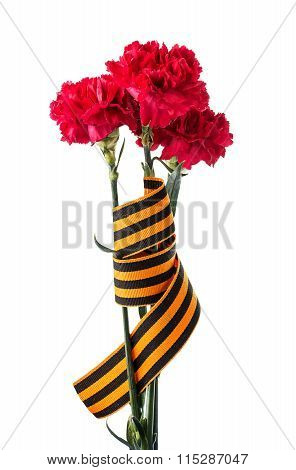Carnations And St. George's Ribbon