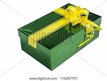Green Gift Box With Yellow Ribbon