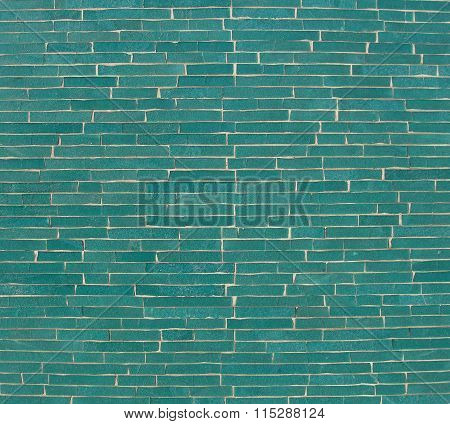Rectangular Mosaic Pattern Wall In Turquoise Blue