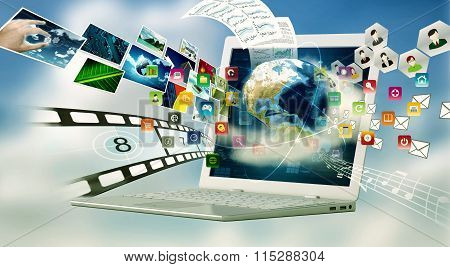 A laptop computer with internet connection technology. Sharing multimedia files concept
