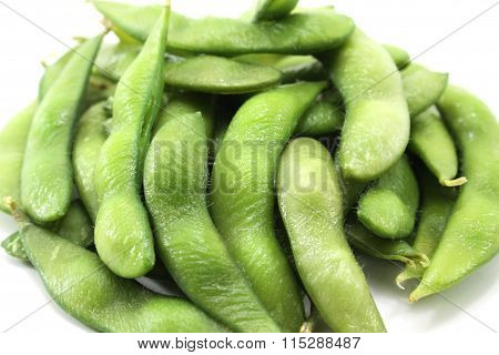 Fresh Green Soybeans On White Background