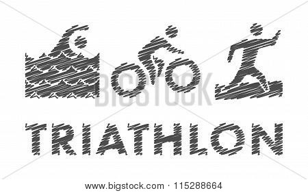 Vector Pencil Triathlon Logo And Symbol.