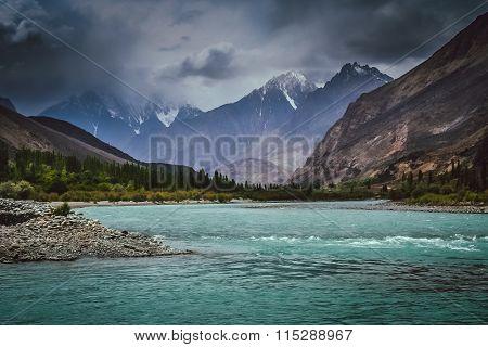 Blue Gilgit river