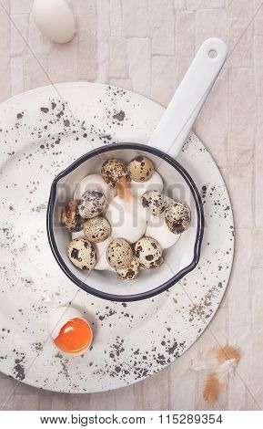 Eggs. Fresh raw eggs in  bowl over rustic background
