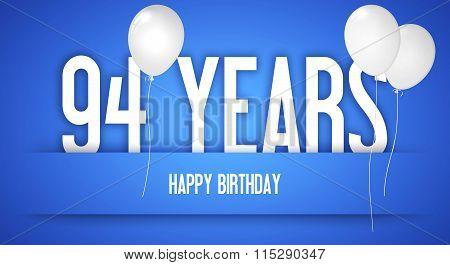 Happy Birthday Card - Boy With White Balloons - 94 Years Greeting Postcard - Illustration Anniversar