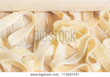 Ribbons Of Pasta Dough Fettuccine