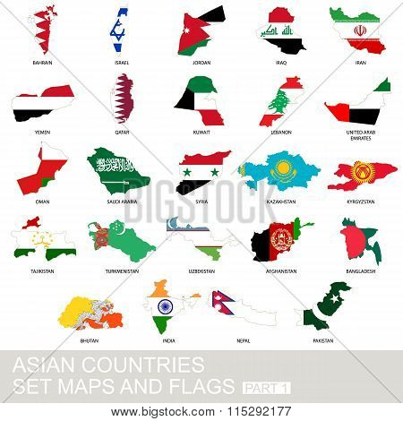 Asian Countries Set, Maps And Flags