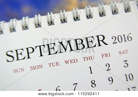 Close up calendar of September 2016