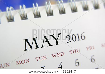 Close up calendar of May 2016