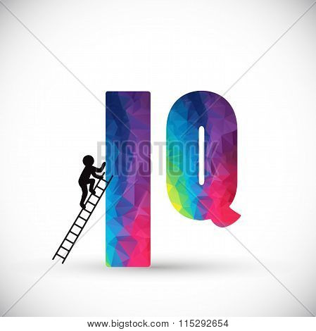 Sign IQ. Multicolor polygonal letter.