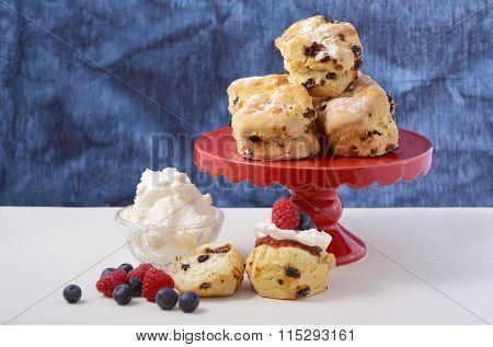 Fruit Scones With Berries And Cream