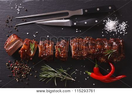 Bbq Pork Ribs On A Table. Horizontal Top View